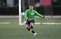 Oct 29, 2014; Orange, CA, USA; Occidental College Tigers goalkeeper Theo Atkinson (33) against the Chapman College Panthers. Photo by Kirby Lee