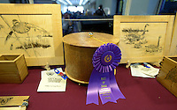 NWA Democrat-Gazette/BEN GOFF @NWABENGOFF<br /> A carved box by Warren Rauscher of Raymore, Mo. which won Best of Show sits on display with on Sunday Sept. 13, 2015 during the Woodcarvers of Northwest Arkansas show at Frisco Station Mall in Rogers.