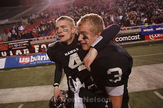 Salt Lake City - Bingham vs. Alta High School, 5A State Championship game Friday, November 21, 2008 at Rice-Eccles Stadium. Alta wins 21-17.. Friday November 21, 2008. alta's ammon olsen celebrates win, zack bigelow