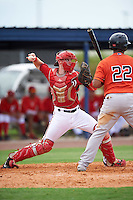 GCL Nationals catcher Joey Harris (4) throws down to second as Wander Franco (22) bats during a game against the GCL Astros on August 14, 2016 at the Carl Barger Baseball Complex in Viera, Florida.  GCL Nationals defeated GCL Astros 8-6.  (Mike Janes/Four Seam Images)