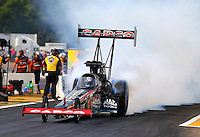 Aug. 18, 2013; Brainerd, MN, USA: NHRA top fuel dragster driver Steve Torrence during the Lucas Oil Nationals at Brainerd International Raceway. Mandatory Credit: Mark J. Rebilas-