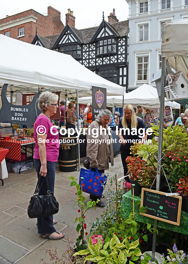 Open-air market, Shrewsbury, Shropshire, UK, historic, market town, with largely unaltered medieval street plan. It has over 660 listed buildings. July 2014. 201407043194<br />
