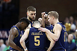 CHARLOTTESVILLE, VA - MARCH 03: Notre Dame starters Temple TJ Gibbs, Martinas Geben (LTU), Bonzie Colson, Rex Pflueger, and Matt Farrell huddle before the game. The University of Virginia Cavaliers hosted the University of Notre Dame Fighting Irish on March 3, 2018 at John Paul Jones Arena in Charlottesville, VA in a Division I men's college basketball game. Virginia won the game 62-57.