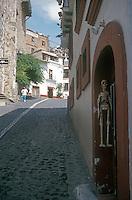 Steep cobblestone street in Taxco, Guerrero, Mexico