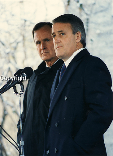 January 1987 file photo - <br /> The Right Honrouable Brian Mulroney (R) with George Bush Sr. (L)
