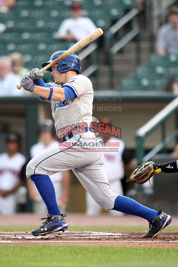 Durham Bulls outfielder Brandon Guyer #9 during a game against the Rochester Red Wings at Frontier Field on July 18, 2011 in Rochester, New York.  Durham defeated Rochester 4-1.  (Mike Janes/Four Seam Images)