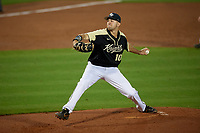 UCF Knights pitcher Colton Gordon (10) during a game against the Siena Saints on February 14, 2020 at John Euliano Park in Orlando, Florida.  UCF defeated Siena 2-1.  (Mike Janes/Four Seam Images)