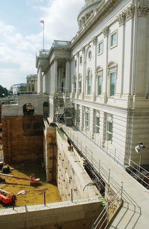 9/19/03.ISABEL--The view from the Senate Steps of the Capitol Visitor Center construction site..CONGRESSIONAL QUARTERLY PHOTO BY SCOTT J. FERRELL
