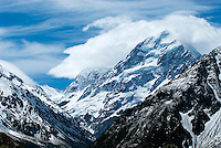 The Southern Alps on New Zealand's South Island were formed by tectonic uplifting as the Australian Plates and Pacific Plates collide along the island's western coast. The uplifting continues, raising New Zealand's highest peak, Aoraki Mount Cook an average of 7 millimeters each year.