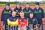 Competing in the 100m at the Kerry All Stars county finals in Castleisland on Saturday were front row l-r: William O'Connor Listowel, Ross Gallagher Scartaglen, Diarmuid O'Connor Valentia Island. Back row: John Mangan Kilcummin, Patrick O'Sullivan Foilmore, Stephen Brosnan Killarney and Timothy O'Sullivan Kilcummin   Copyright Kerry's Eye 2008
