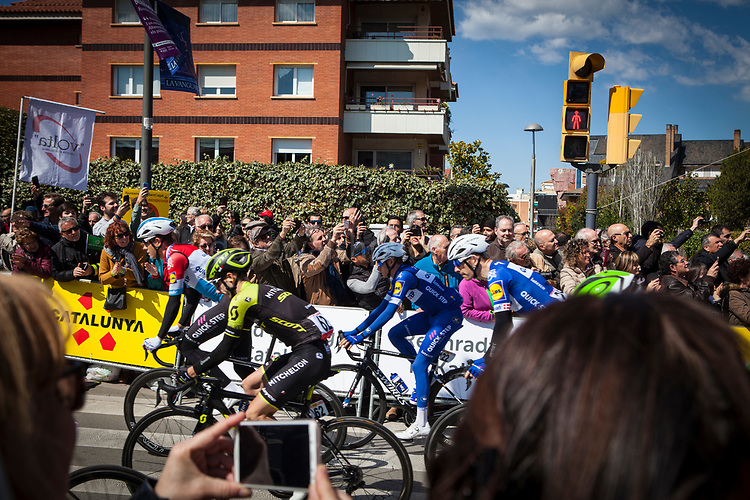 Stage 3 of the Volta Catalunya 2018 cycle race departs from Sant Cugat del Valles, en route to Camprodon - shortened from its planned finish at Vallter 2000 due to avalanche risk.