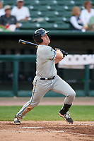 West Michigan Whitecaps first baseman Blaise Salter (24) follows through on a swing during a game against the Peoria Chiefs on May 9, 2017 at Dozer Park in Peoria, Illinois.  Peoria defeated West Michigan 3-1.  (Mike Janes/Four Seam Images)