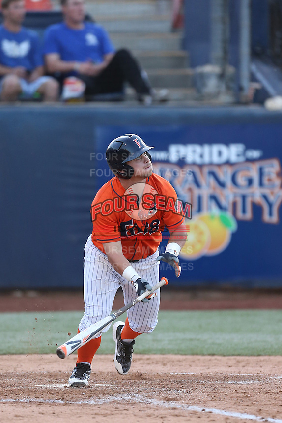 Josh Estill (38) of the Cal State Fullerton Titans bats during a game against the Cal Poly Mustangs at Goodwin Field on April 2, 2015 in Fullerton, California. Cal Poly defeated Cal State Fullerton, 5-0. (Larry Goren/Four Seam Images)
