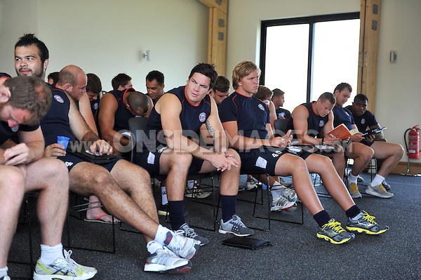 Francois Louw looks on prior to a team meeting. Bath Rugby pre-season training on July 16, 2013 at Farleigh House in Bath, England. Photo by: Patrick Khachfe/Onside Images