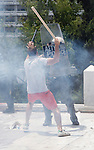 Riots infront of  Greek parliament. Greek workers and civil servants stage a new 24-hour strike that will gauge public discontent with government austerity measures, including a radical pension reform aimed at helping the country solve its huge debt crisis.