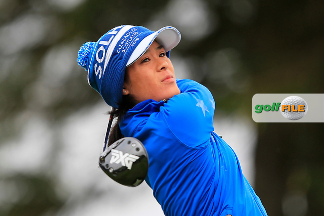 Celine Boutier (EUR) on the 2nd tee during Day 3 Singles at the Solheim Cup 2019, Gleneagles Golf CLub, Auchterarder, Perthshire, Scotland. 15/09/2019.<br /> Picture Thos Caffrey / Golffile.ie<br /> <br /> All photo usage must carry mandatory copyright credit (© Golffile   Thos Caffrey)