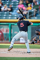 Collin Cowgill (5) of the El Paso Chihuahuas bats against the Salt Lake Bees in Pacific Coast League action at Smith's Ballpark on May 1, 2017 in Salt Lake City, Utah. Salt Lake defeated El Paso 9-4.  (Stephen Smith/Four Seam Images)