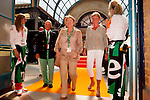 Engeland, London, 26 juli 2012.Olympische Spelen London.Opening Holland Heineken House.Charlene de Carvalho-Heineken betreedt met haar man Michel de Carvalho en Ellen van langen het Holland Heineken House in London