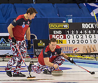 Glasgow. SCOTLAND.  Norway's, Christoffer, SVAE, , watched by &quot;Skip&quot;, Thomas ULSRUD, fixe's his eye's on the line of  his delivery, during the &quot;Round Robin&quot; Game. Le Gruy&egrave;re European Curling Championships. 2016 Venue, Braehead  Scotland<br /> Tuesday  22/11/2016<br /> <br /> [Mandatory Credit; Peter Spurrier/Intersport-images]