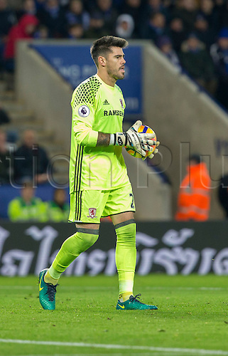 26.11.2016. King Power Stadium, Leicester, England. Premier League Football. Leicester City versus Middlesbrough. Middlesbrough goalkeeper Victor Valdes with the ball in his goal area.