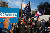 Queens, New York<br /> Queensbridge Park<br /> October 19.2019<br /> <br /> Right-wing Donald Trump supporters yell Sanders supporters following Senator Bernie Sanders first major campaign rally since suffering from a heart attack earlier this month in Queensbridge Park. <br /> <br /> Congresswoman New York Rep. Alexandria Ocasio-Cortez endorses Sanders for US President at the rally.<br /> <br /> An estimated 26,000 people attended the event according to the Sanders campaign.