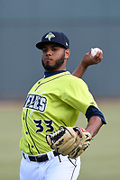Starting pitcher Jaison Vilera (33) of the Columbia Fireflies warms up before a game against the Charleston RiverDogs on Saturday, April 6, 2019, at Segra Park in Columbia, South Carolina. Columbia won, 3-2. (Tom Priddy/Four Seam Images)