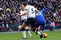 Jan Vertonghen and Oliver Skipp of Tottenham Hotspur with James Maddison of Leicester City in the incident that led to a Leicester City penaltyduring Tottenham Hotspur vs Leicester City, Premier League Football at Wembley Stadium on 10th February 2019