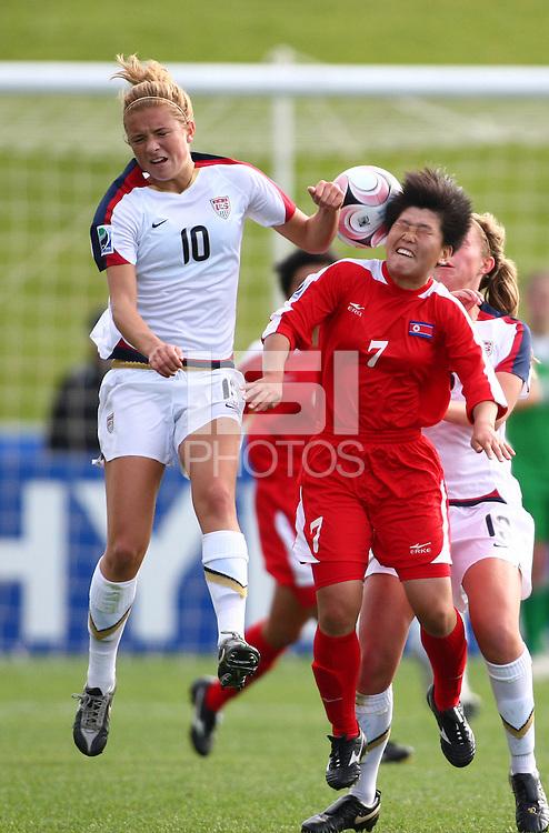 Kristie Mewis (L) and KIM Un Ju compete for a header. USA v Korea Republic. FIFA U-17 Women's World Cup Final. North Harbour Stadium, Auckland, Sunday 16 October 2008. Photo: Simon Watts/PHOTOSPORT