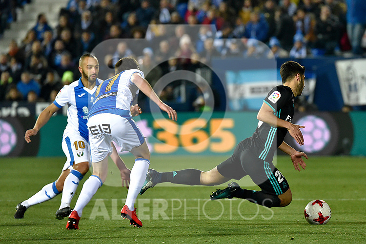 Leganes Unai Bustinza vs Real Madrid Marco Asensio during Copa del Rey  match. A quarter of final go. 20180118.