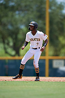 GCL Pirates Yoyner Fajardo (7) leads off during a Gulf Coast League game against the GCL Red Sox on August 1, 2019 at Pirate City in Bradenton, Florida.  GCL Red Sox defeated the GCL Pirates 11-3.  (Mike Janes/Four Seam Images)