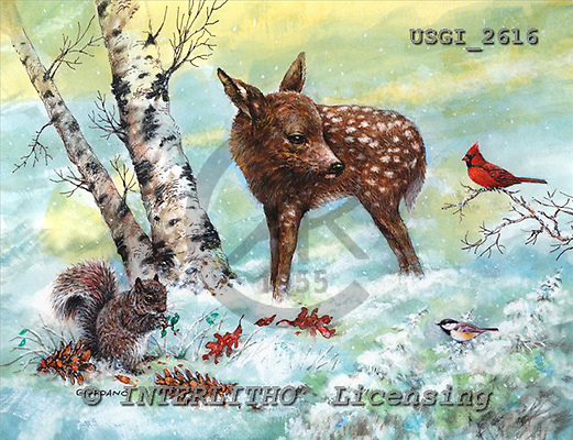 GIORDANO, CHRISTMAS ANIMALS, WEIHNACHTEN TIERE, NAVIDAD ANIMALES, paintings+++++,USGI2616,#XA#
