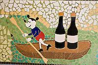 """Europe/France/Rhône-Alpes/42/Loire/Rive-de Gier:  Bar en Mosaïque années 50 du Restaurant """"La Renaissance"""""""