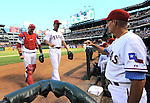 (L-R) A.J. Pierzynski, Yu Darvish (Rangers),<br /> AUGUST 1, 2013 - MLB :<br /> Pitcher Yu Darvish and catcher A.J. Pierzynski of the Texas Rangers are welcomed back to the dugout by pitching coach Mike Maddux during the Major League Baseball game against the Arizona Diamondbacks at Rangers Ballpark in Arlington in Arlington, Texas, United States. (Photo by AFLO)