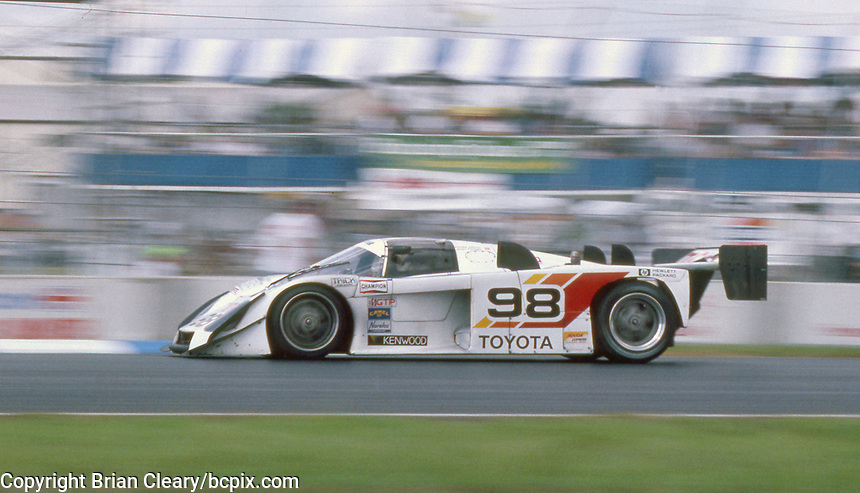 The #98 Toyota 88C of Drake Olsen and Juan Fangio races through a turn during the IMSA GTP/Lights race at the Florida State Fairgrounds  in Tampa, FL, October 1, 1989.  (Photo by Brian Cleary/www.bcpix.com)