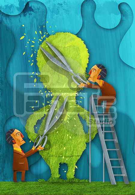 Illustrative image of businessman cutting tree representing cost cutting