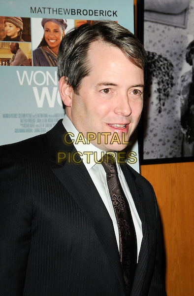 "MATTHEW BRODERICK .arriving at the premiere of ""Wonderful World"" at the DGA Theatre in Los Angeles, California, USA, .January 7th 2010..portrait headshot black suit brown tie grey gray shirt mouth open .CAP/ROT.©Lee Roth/Capital Pictures"