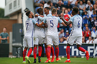celebrations as Nathaniel Chalobah (Chelsea) of England scores the 2nd goal during the International EURO U21 QUALIFYING - GROUP 9 match between England U21 and Norway U21 at the Weston Homes Community Stadium, Colchester, England on 6 September 2016. Photo by Andy Rowland / PRiME Media Images.