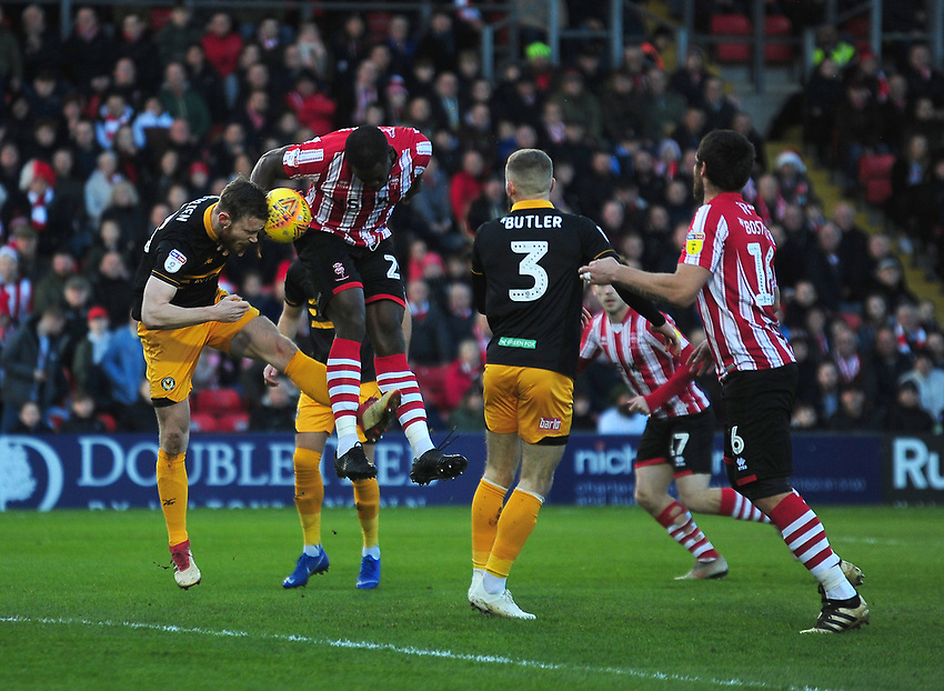 Lincoln City's John Akinde scores the opening goal<br /> <br /> Photographer Andrew Vaughan/CameraSport<br /> <br /> The EFL Sky Bet League Two - Lincoln City v Newport County - Saturday 22nd December 201 - Sincil Bank - Lincoln<br /> <br /> World Copyright © 2018 CameraSport. All rights reserved. 43 Linden Ave. Countesthorpe. Leicester. England. LE8 5PG - Tel: +44 (0) 116 277 4147 - admin@camerasport.com - www.camerasport.com