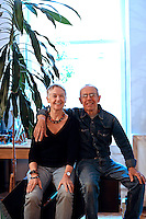 portrait of Christos Giannakos and his wife..The 100sq.mt flat of visual artist, Christos Giannakos, is located in Soho area of Manhattan in New York City, U.S.A. The modern and pleasant apartment was not decorated according to fashionable decorating rules, but reflects the owner's  personality.