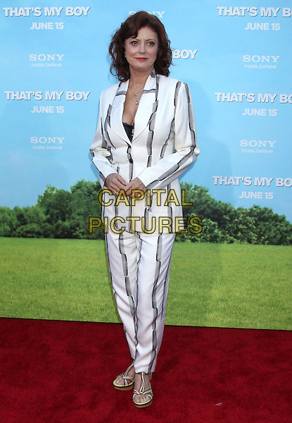"Susan Sarandon.""That's My Boy"" Los Angeles Premiere held at the Regency Village Theatre, Westwood, California, USA..June 4th, 2012.full length white black grey gray striped stripes suit .CAP/ADM/RE.©Russ Elliot/AdMedia/Capital Pictures."