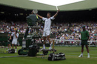 WIMBLEDON CHAMPIONSHIPS 2001 09/07/01 MENS SINGLES FINAL GORAN IVANISEVIC (CROATIA) AFTER  BEATING TIM HENMAN (GREAT BRITAIN) PHOTO ROGER PARKER FOTOSPORTS INTERNATIONAL