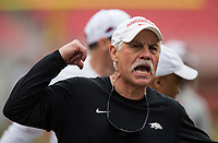 Hawgs Illustrated/BEN GOFF <br /> Steve Caldwell, Arkansas defensive line coach, in the second quarter Saturday, April 6, 2019, during the Arkansas Red-White game at Reynolds Razorback Stadium.