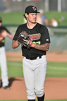 Great Falls Voyagers starting pitcher Dane Stone (27) delivers a pitch to the plate against the Ogden Raptors in Pioneer League action at Lindquist Field on July 16, 2014 in Ogden, Utah.  (Stephen Smith/Four Seam Images)