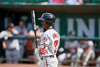 Jeter Downs (17) of the Billings Mustangs bats against the Ogden Raptors at Lindquist Field on August 13, 2017 in Ogden, Utah. The Raptors defeated the Mustangs 6-5.  (Stephen Smith/Four Seam Images)