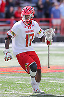 College Park, MD - April 8, 2017: Maryland Terrapins James Bull (17) runs with the ball during game between Penn State and Maryland at  Capital One Field at Maryland Stadium in College Park, MD.  (Photo by Elliott Brown/Media Images International)