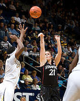Berkeley, CA - March 4th, 2012: Sara James of Stanford shoots the ball during a basketball game against California in Berkeley, California.   Stanford won, 86-61.