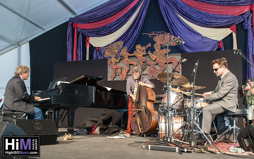 Stanton Moore performs at the 2014 Jazz and Heritage Festival in New Orleans, LA.