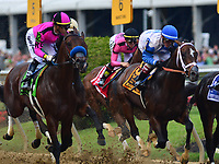 Baltimore, MD - May 18, 2019: Jockey Tyler Gaffalione aboard War of Will (second from right) comes from behind to win the 144th running of the Preakness at the Pimlico Race Course in Baltimore, MD May 18, 2019.  (Photo by Don Baxter/Media Images International)