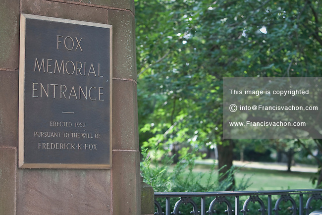 The Bushnell Park Fox Memorial entrance is pictured in Hartford, Connecticut, Saturday August 6, 2011. Conceived by the Reverend Horace Bushnell, Bushnell Park is the oldest publicly funded park in the United States.