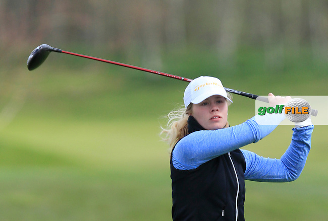 Pi-Lillebi Hermansson (SWE) on the 13th tee during Round 1 of The Irish Girls Open Strokeplay Championship in Roganstown Golf Club on Saturday 18th April 2015.<br /> Picture:  Thos Caffrey / www.golffile.ie